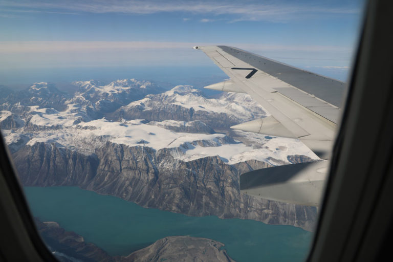 View of Greenland from the plane.