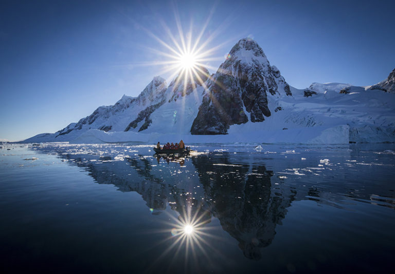 Guests on a Zpdiac cruise in Antarctica. Photo: Dave Brosha