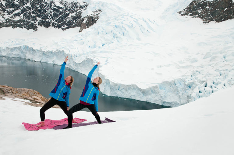 Yoga at Neko Harbor Antarctic Peninsula. Image by David McEown