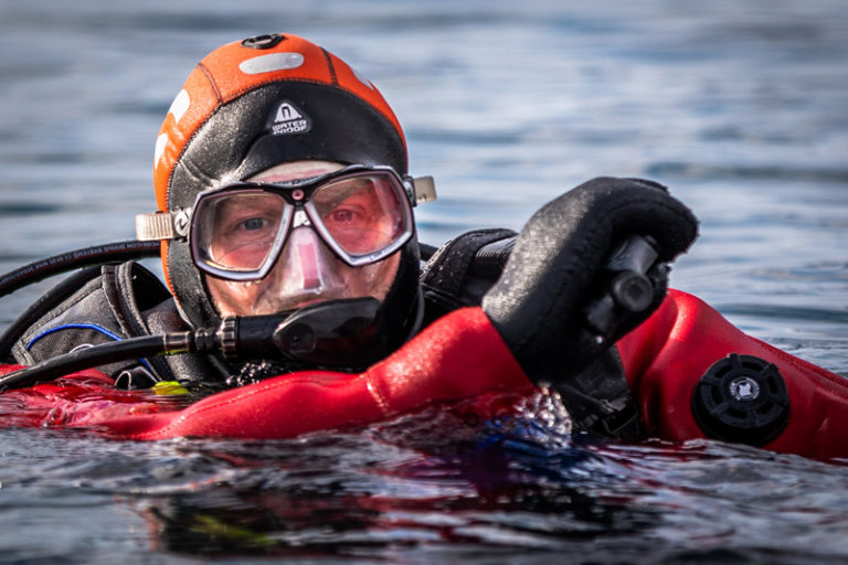 Cold water diver from Ocean Wise in the Arctic. Photo by Roger Pimenta