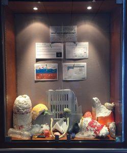 Microplastics educational display on ship