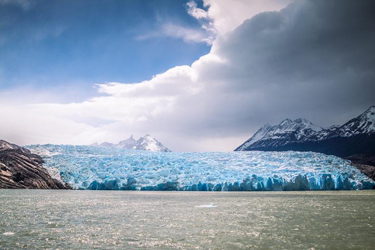 Grey Glacier landscape in Patagonia, Torres del Paine, Chile.