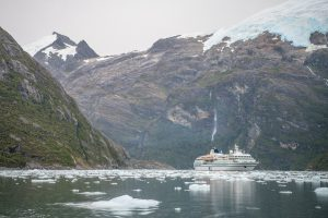 RCGS Resolute sits in a fjord in Chile