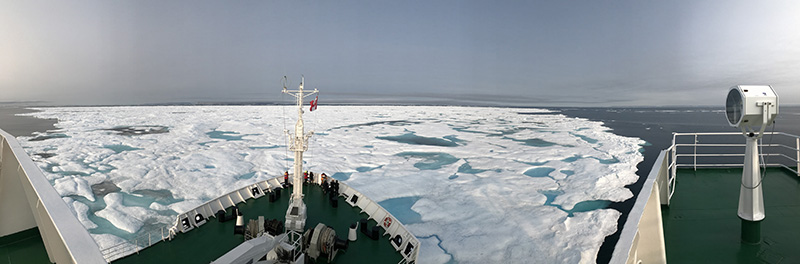 Ice in Franklin Strait from the bow of Akademik Sergey Vavilov