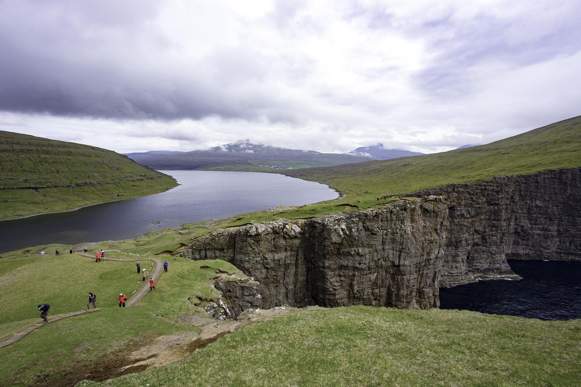Hanging lake in the Faroe Islands